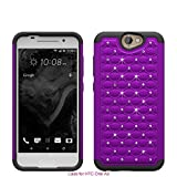 HTC ONE A9 Case , Studded Diamond Hybrid Bling Dual Layer Crystal Rhinestone Cover Silicone Rubber Skin Hard Bumper Case For HTC ONE A9 Case - Purple