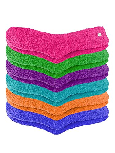 Bright Colors Plush Toasty Fuzzy 6 Pack Socks Fuchsia OS