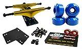 Owlsome 5.25 Metallic Gold/Black Aluminum Skateboard Trucks w/52mm Wheels Combo Set (Blue)