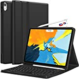 iPad Pro 11 Keyboard Case 2018 - Detachable Wireless Keyboard [Support Apple Pencil Charging] - Ultra Slim PU Leather Folio Stand Cover with Pencil Holder for iPad Pro 11 Inch 2018, Black