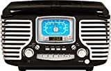 Crosley CR612D-BK Corsair Retro AM/FM Dual Alarm Clock Radio with CD Player and Bluetooth, Black