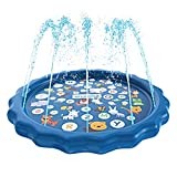 """SplashEZ 3-in-1 Sprinkler for Kids, Splash Pad, and Wading Pool for Learning – Children's Sprinkler Pool, 60'' Inflatable Water Toys – """"from A to Z"""" Outdoor Swimming Pool for Babies and Toddlers"""