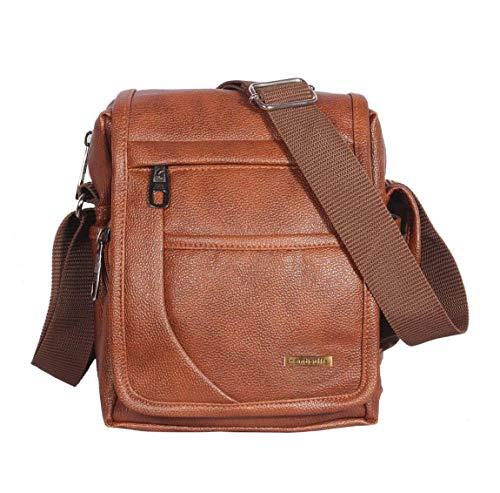 Handcuffs Men's Tan Leather Messenger Bag (10 Inch)
