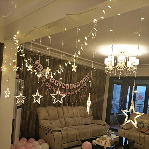 51usABo1R2L - Home Solution's -Star Light Curtain Decorations (12 Star,138 LED,8 Flashing Modes in Warm White Color)