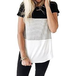 YunJey short sleeve round neck triple color block stripe T-shirt casual blouse,Black,XX-Large
