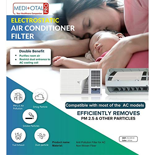 51uuW+B98tL - Meditotalpro Anti Pollution Filter for Converting Split AC into Air Purifier - Pack of 4 Filters
