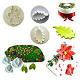 2016 Hot Fashion 2 Shapes Fondant Cake Decorating Sugarcraft Mold mould Cookie Plunger Cutter 3pc Christmas Leaf Reindeer