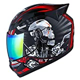 1STORM MOTORCYCLE BIKE FULL FACE HELMET MECHANIC SKULL - Tinted Visor RED (M 55-56 CM 21.7/22.0 Inch)