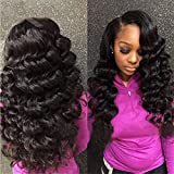 Nadula Brazilian 8a Unprocessed Loose Wave Remy Virgin Human Hair Weave Pack of 3 Hair Extensions Natural Color (16 18 20inch)