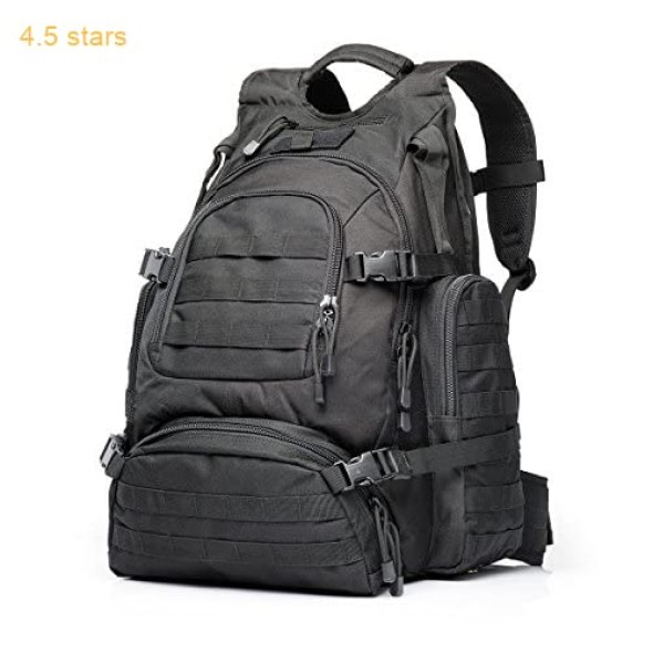 bd996ce684a3 YAKEDA Tactical Backpack Military Rucksacks Sports Outdoor Military Bag Compact  Pack Summit Bag for Hunting Shooting Camping Hiking TrekkingL-A88042(Black)