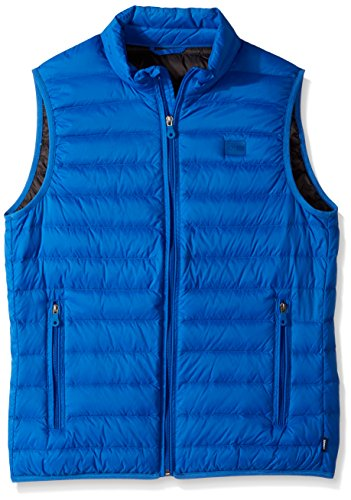 51uyn7w7cDL Slim-fit vest in quilted construction featuring zip front and tonal logo patch at left chest Zippered hand pockets