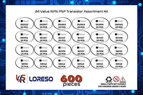 Transistor-Assortment-Kit-Box-by-Loreso-600-Piece-24-Value-NPN-PNP-Transistor-Box-2N2222-2N2907-BC327-BC337-BC556-2N3903-S9012-for-Hobby-Electronics-Audio-Video-Repair-Electronic-Projects