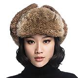 Product review for URSFUR Rabbit Fur Aviator Hat Women Black Leather Winter Bomber Cap Russian