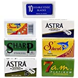 Double Edge Safety Razor Blade Variety Sampler Pack, 100 Blades Compatible with All Standard Double...