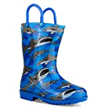 ZOOGS Children's Rain Boots with Handles, Little Kids & Toddlers, Boys & Girls, Blue (Angry Shark), US 7T