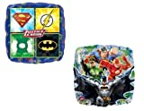 "LoonBalloon Justice League Batman Superman Green Lantern Flash Party (2) 18"" Mylar Balloons"