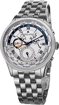 Maurice Lacroix Men's Masterpiece Silver Dial Stainless Steel Worldtimer Watch MP6008-SS002-111