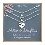 EFYTAL Mother of Two Daughters Set of 3 Necklaces, Sterling Silver Heart Cutout Necklace