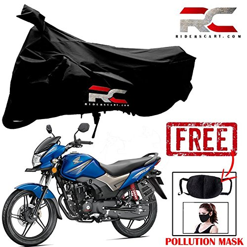 Riderscart Two Wheeler Cover Premium Bike With Pollution Mask Combo For Honda Cb Shine