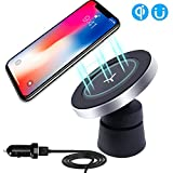 Qi Wireless Car Charger FindUWill 2-in-1 Magnetic Vehicle Mount Phone Holder Air Vent or Dashboard for Samsung Galaxy Note 8 S8 S8 Plus S7 Edge S7 S6 Edge Plus Note 5 (Qi Car Charger Black)