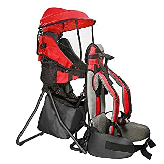 The Cross Country Child Carrier from Clevr is made of strong but lightweight metal frame and 600d oxford cloth, it can withstand the elements and daily use.    Featuring multiple pockets, thick padded shoulder pads, padded waist strap, and two sid...