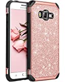 BENTOBEN Galaxy Grand Prime Case, Galaxy J2 Prime Case, Glitter 2 in 1 Slim Hard with PU Leather Shockproof Protective Case for Samsung Galaxy Grand Prime G530/J2 Prime/Grand Prime Plus, Rose Gold