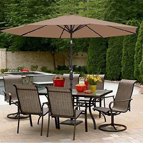 SUPER DEAL 10FT Solar LED Lighted Patio Umbrella Outdoor Market Table Umbrella - Push Button - Tilt Adjustment&Crank Lift System - Aluminum Ribs for Patio, Garden, Backyard, Deck, Poolside, and More