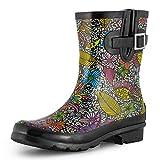 SheSole Women's Waterproof Rubber Short Rain Boots Black Floral US Size 7