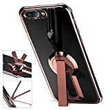 Newseego [Upgrade Version] Compatible with iPhone 7 Plus Case/iPhone 8 Plus Case with Kickstand, 360 Degree Rotatable Stand Slim Soft Crystal Protective Clear Case for iPhone 7/8 Plus-Rose Gold Case