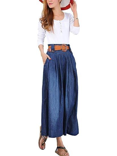 Women's High Waist Thin Blue Denim Cotton Midi Pocket Pleated Fall Skirt Belt Blue Tag XXL-US 12