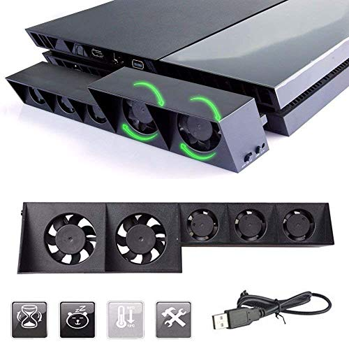 Linkstyle PS4 Cooling Fan, USB External Cooler 5 Fan Turbo Temperature Control Cooling Fans for Sony Playstation Gaming Console