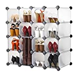 VonHaus 16x Interlocking Shoe Cubby Organizer Storage Cube Shoes Rack in Transparent White - Build Into Any Shape or Size to Organize Shoes, Clothing, Toys and DVDs