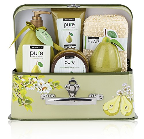 Luxury Spa Gift Basket, Pear Bath Set Includes Bubble Bath, Body Scrub, Shower Gel, & more! Again interesting