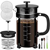 French Press Coffee Maker with 4 Filter Screens, Durable 304 Grade Stainless Steel Heat Resistant Borosilicate Glass Tea Maker (8 cups, 34 oz) with Milk Frother by Veken, Black