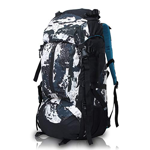 51vDyLKMkZL - Trunkit Waterproof Rucksack Travelling Trekking Hiking with Raincover (White Black, 65 L)