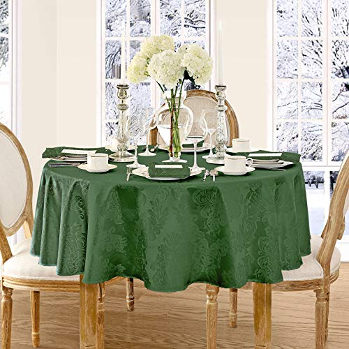 Newbridge Barcelona Luxury Damask Fabric Tablecloth, 100% Polyester, No Iron, Soil Resistant Holiday Tablecloth, 70 Inch Round, Hunter Green