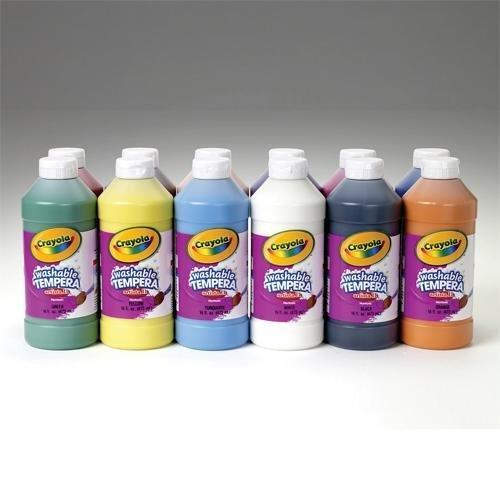 Crayola Artista II Washable Liquid Tempera Paint, Set of 12, 16oz , Assorted Colors (54-8216)