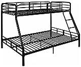 Mainstay Twin Over Full Bunk Bed Kids Teens Bedroom Dorm Furniture Metal Beds Bunkbeds with Ladder Black