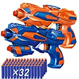 POKONBOY 2 Pack Blaster Guns Toy Guns for Boys with 32 Pack Refill Soft Foam Darts for Kids Birthday Gifts Party Supplies Hand Gun Toys for 4 5 6 7 Year Old Boys