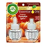 Air Wick plug in Scented Oil 2 Refills, Pumpkin Spice, (2x0.67oz), Essential Oils, Air Freshener
