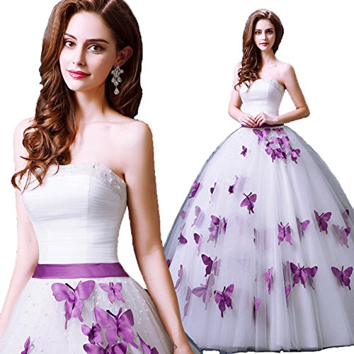 "51vJO6zvD9L Dress color : White or Ivory,Butterfly color : Purple.Accept Custom Size and Color.Please Use The Size Chart Image on the Left. Do not use Amazon's ""Size Chart"" link. Estimated Delivery is set automatically,Need 10 days for processing, 5 days for shipping. Custom Size Service available for dresses ships from and sold by SunnyGirl."