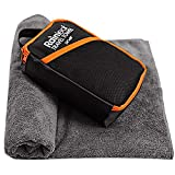 Rainleaf Travel Towel,Fast Drying Towel,Backpacking Towel,Swim Towel,Absorbent Towel,Workout Towel,Microfiber Towels for Body,Ultra Compact-Soft -Lightweight,Gray 24'x48'