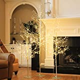 Lightshare Christmas Tree Combo Kit - Starlit Tree Collection with Angel Lights, 4 Feet 5 Feet and 6 Feet, Golden, Pack of 3, Perfect for Home Decor Holiday Party Wedding