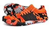 JOOMRA Women Minimalist Running Shoes Barefoot Walking Travel Athletic Climbing Crossfit Lightweight Hiking Trekking Gym Workout Sneakers Camouflage Orange Size 10.5