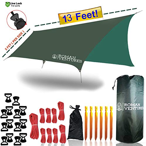 Roman Ventures 13 Foot Rain Fly for Hammock -Light Weight, Diamond-Ripstop Polyester Hammock Rainfly- 2000 PU Waterproof Eno Rain Cover- Rainfly Backpacking Tarp (13 Foot Rectangle)