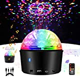 Exulight Disco Crystal Magic Ball Light,Bluetooth Speaker Strobe Party Lights,USB Powered Night Lamp,9 Colors LED Sound Activated Projector with Remote Control for Stage Lighting (Non-Rechargeable)