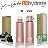 Rehydrate Pro (Rosegold 25oz Double-Insulated Stainless Steel Water Vacuum Bottle Flask -Compatible to Swell Yeti Hydro for Hot or Cold Drinks. 25 Oz + Bonus 'Flip N Sip' Sports Cap