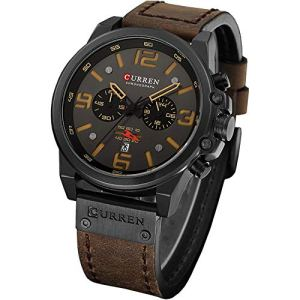 Military Watches for Men Men's Leather Strap Analog Quartz Wristwatch Fashion Sport Watch for Men Chronograph Date Brown Black CAOWTAN 28 Fashion Online Shop gifts for her gifts for him womens full figure