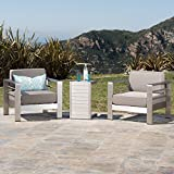 Christopher Knight Home 300476 Crested Bay Outdoor Aluminum Patio Chairs with Side Table (Chat Set)(Khaki/Silver)