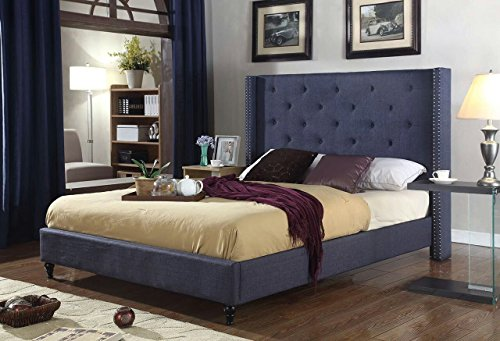Home Life Premiere Classics Cloth Charcoal Blue Linen 51' Tall Headboard Platform Bed with Slats Full - Complete Bed 5 Year Warranty Included 007